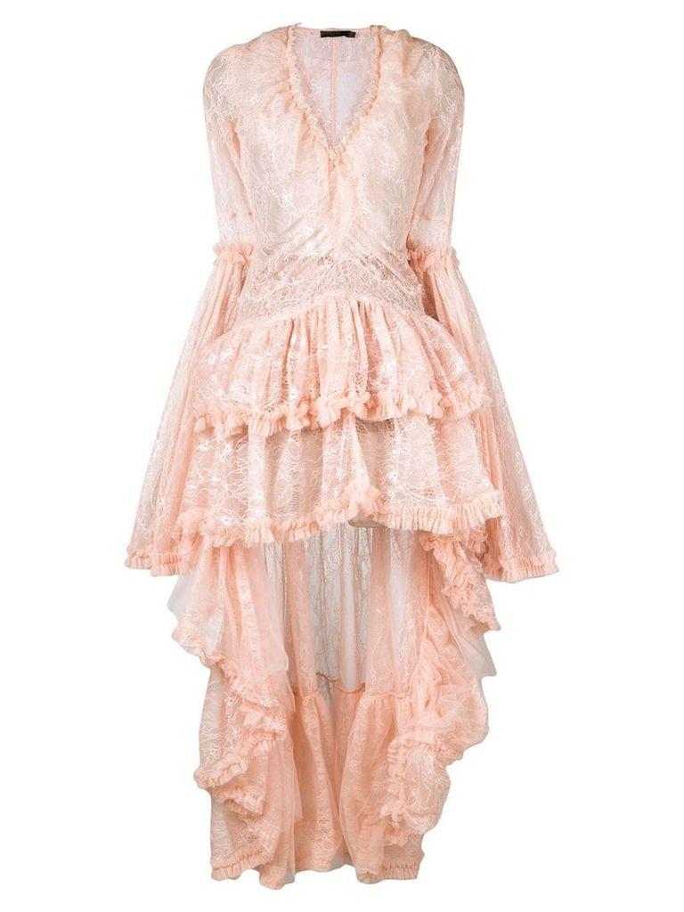 Amen high low hem lace dress - Pink