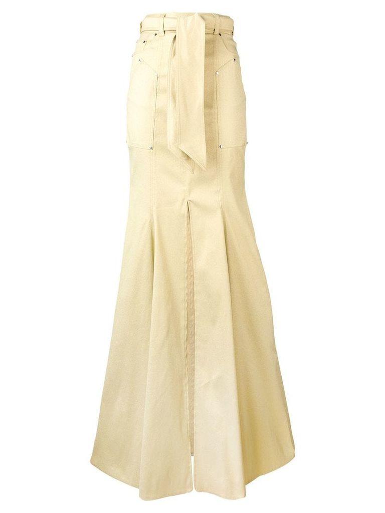 Talbot Runhof belted draped skirt - Yellow