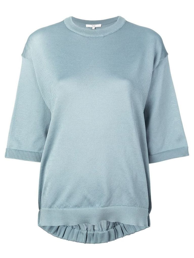 Tibi half-sleeve knitted sweater - Blue