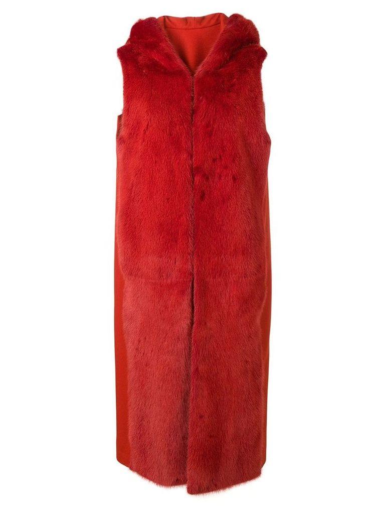 Liska Malottika sleeveless hooded coat - Red