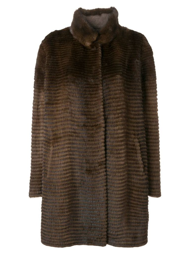 Liska oversized single-breasted coat - Brown