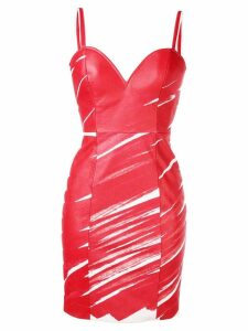 Moschino scribble bodycon dress - Red