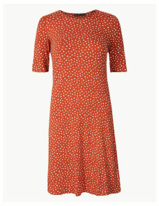 M&S Collection Polka Dot Jersey Knee Length Swing Dress