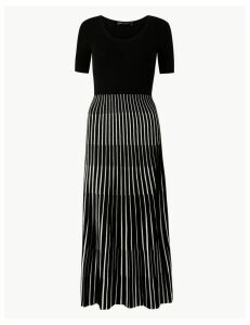 M&S Collection Ribbed Striped Knitted Dress