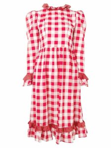 Batsheva gingham print midi dress - Red
