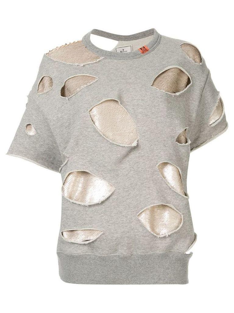 Maison Mihara Yasuhiro sequin layer distressed sweatshirt - Grey