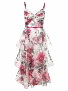 Marchesa Notte sleeveless printed dress - White