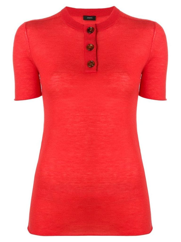 Joseph short sleeved knitted top - Red