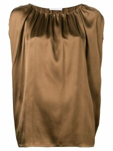 Fabiana Filippi gathered neck blouse - Brown