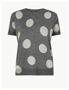 M&S Collection PETITE Polka Dot Round Neck Knitted Top