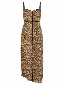 Nanushka leopard-print spaghetti strap midi dress - Brown