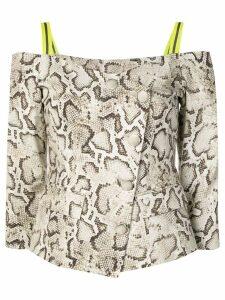 Pinko snakeskin cold shoulder jacket - Neutrals