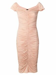Pinko ruched bardot midi dress