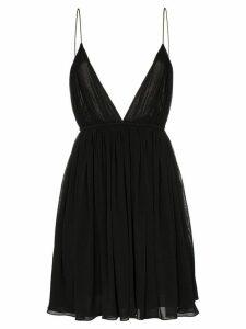 Saint Laurent plunge neckline baby doll dress - Black