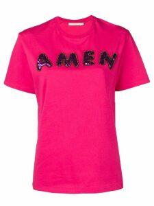 Amen sequin logo T-shirt - Pink