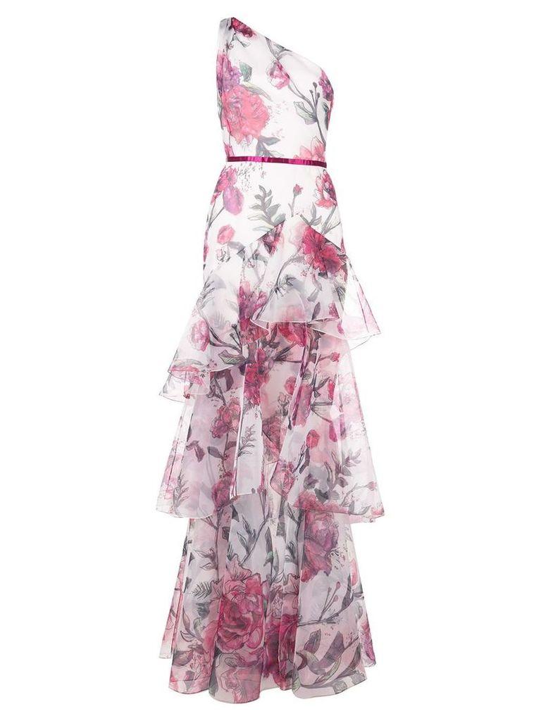 Marchesa Notte printed one-shoulder dress - Neutrals