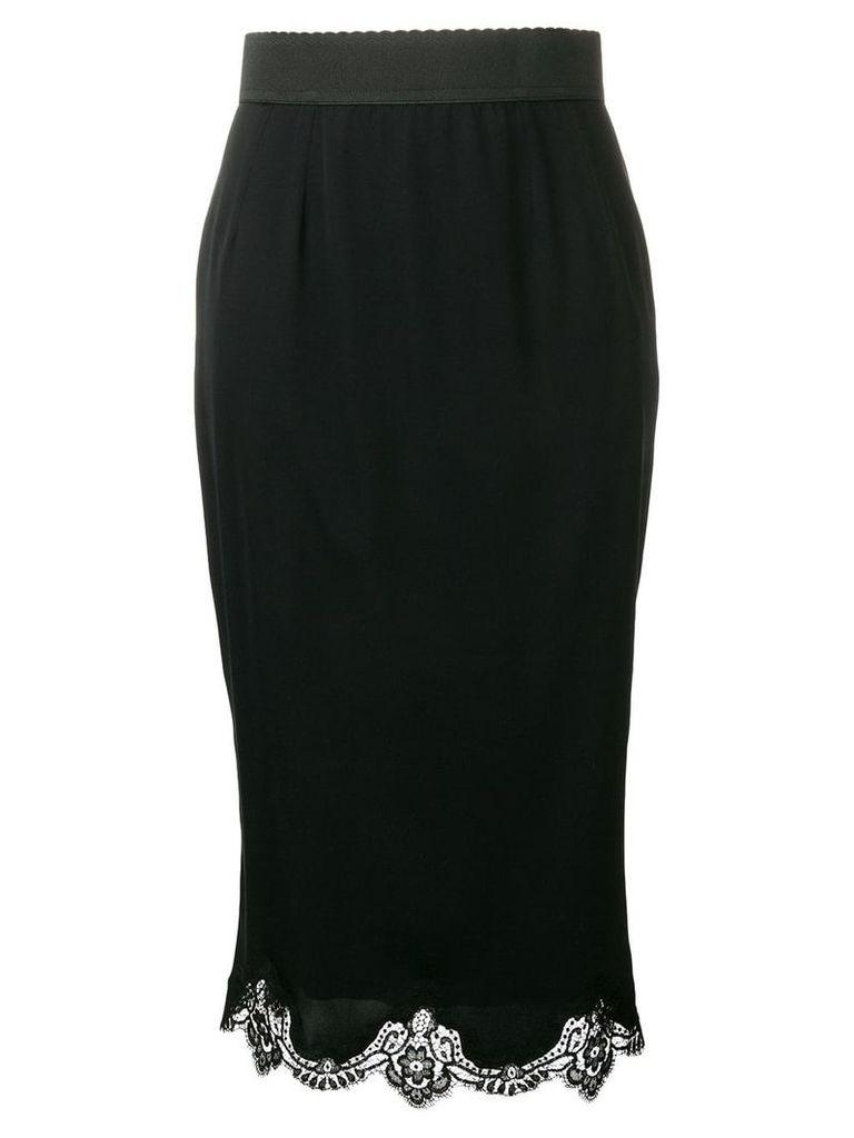 Dolce & Gabbana lace trim midi skirt - Black