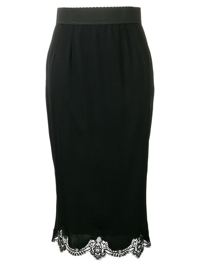 Dolce & Gabbana lace trim midi skirt - Black