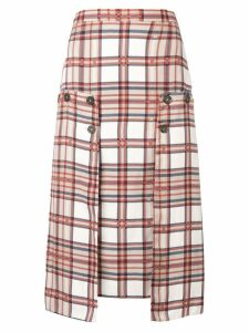 Rokh plaid print pencil skirt - Neutrals