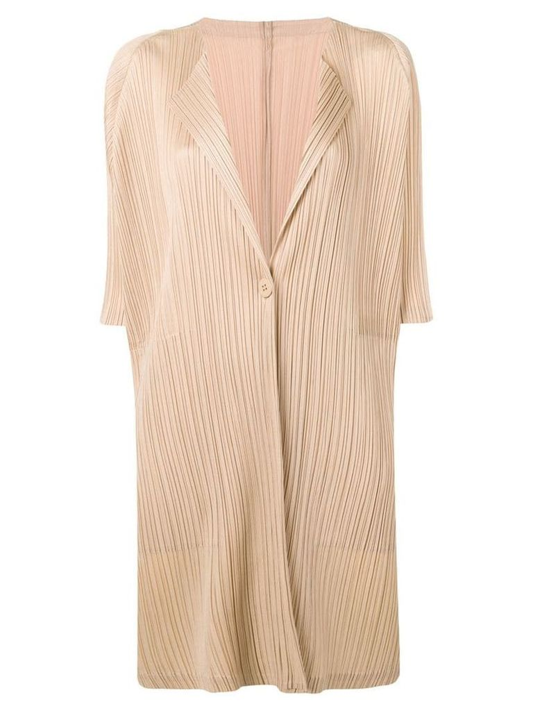 Pleats Please By Issey Miyake pleated cardi-coat - Neutrals