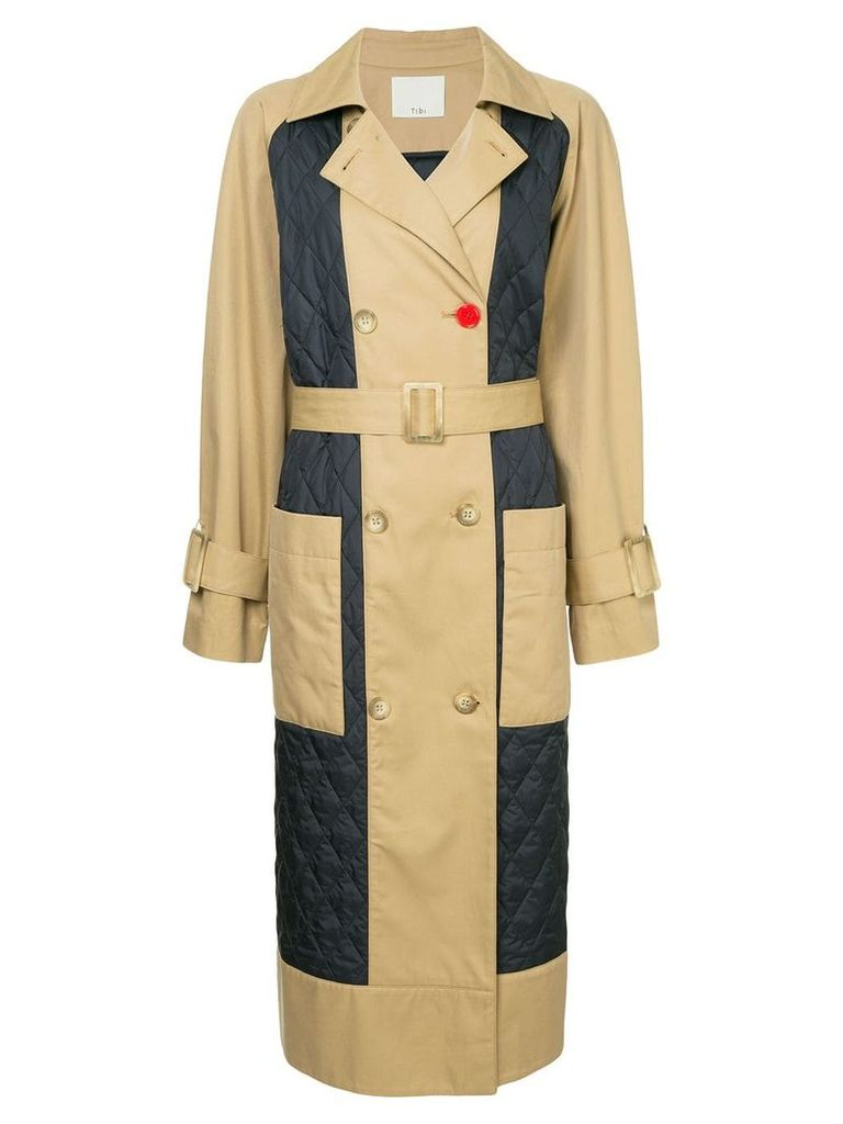 Tibi quilted trench coat - Brown