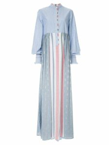 Costarellos mixed-print long dress - Blue