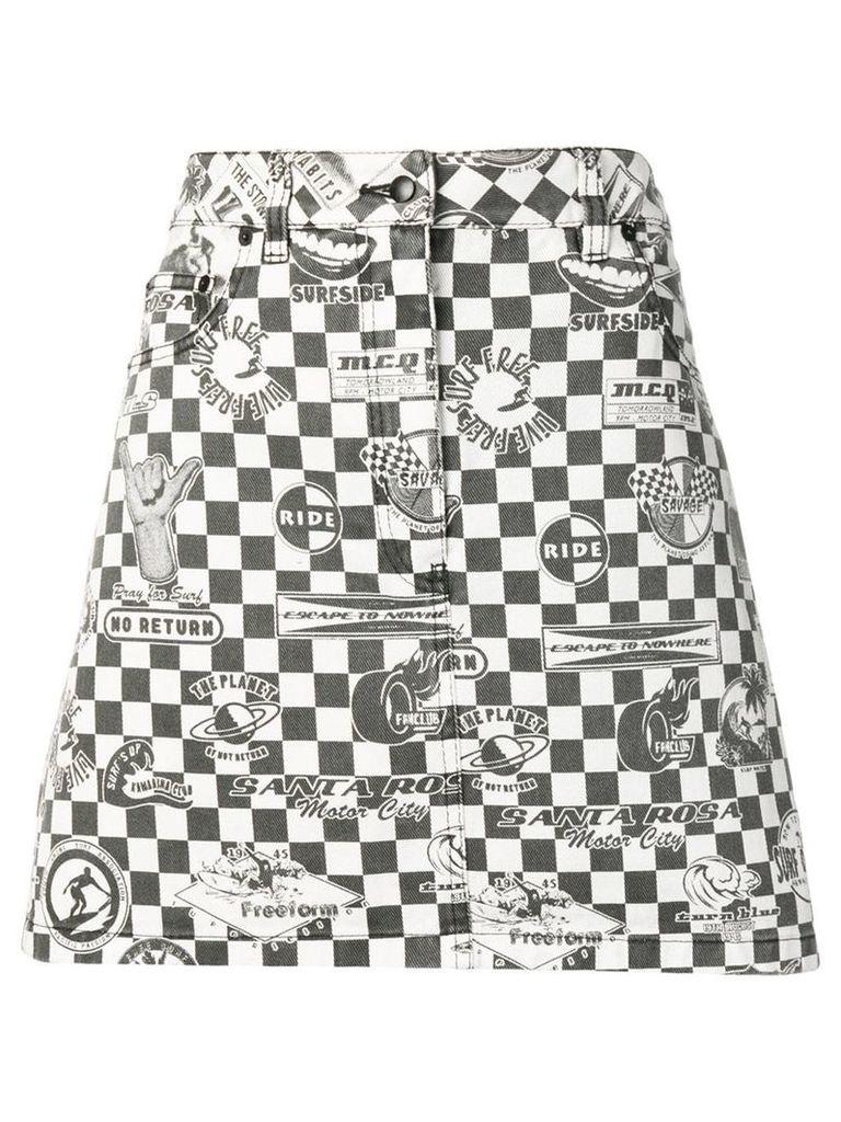 McQ Alexander McQueen checkerboard denim skirt - Black