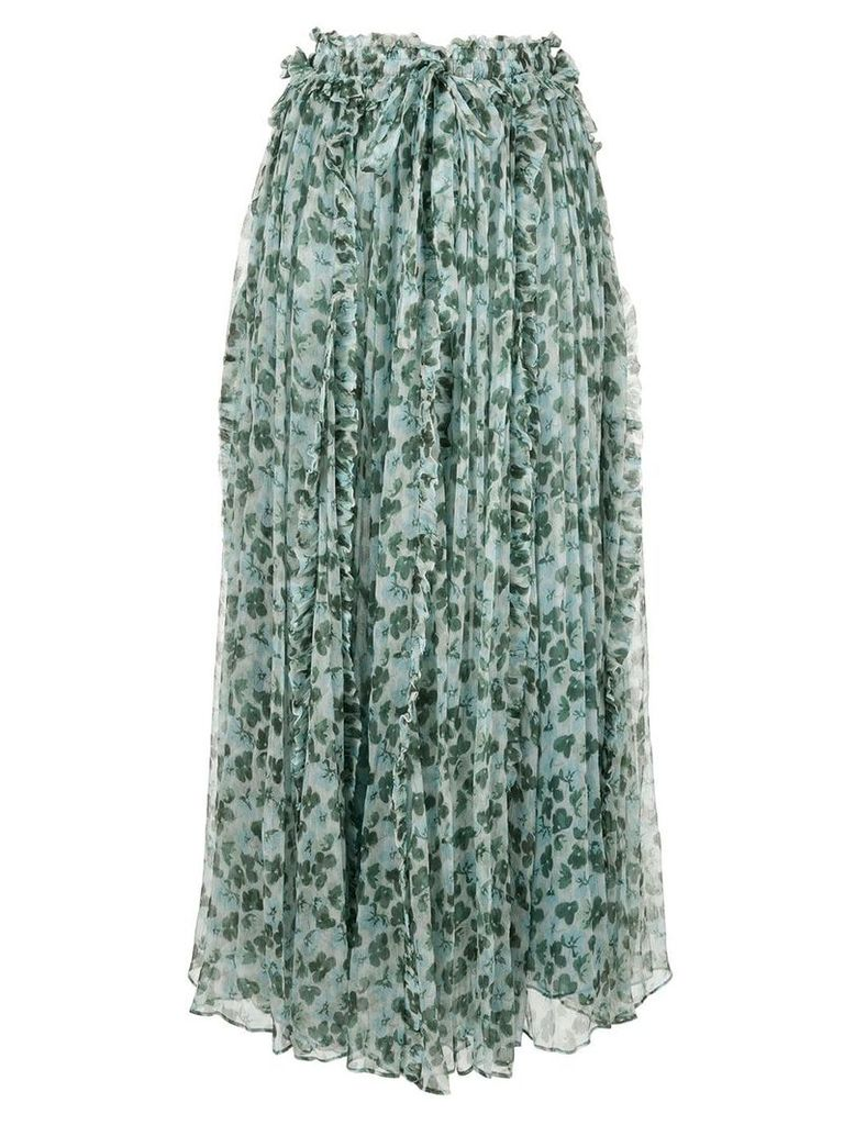 Lee Mathews floral pleated skirt - Green
