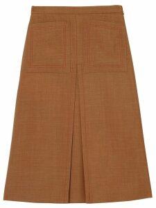 Burberry Topstitch Detail Wool Silk Mohair Linen A-line Skirt - BRONZE