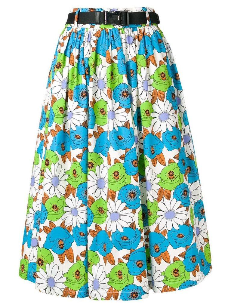 Prada belted floral skirt - Blue