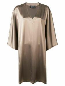 Gianluca Capannolo metallic draped dress - Brown
