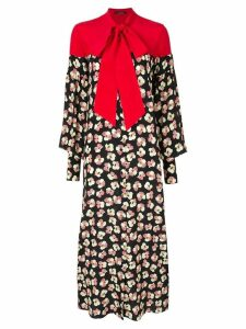 Rokh floral contrast dress - Black