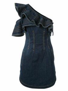 Self-Portrait denim one shoulder mini dress - Blue