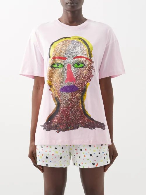 Versace - Logo Print T Shirt - Womens - Black Multi