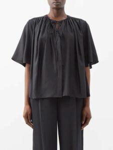 Dolce & Gabbana - Secret Hearts Print Ruched Silk Blend Midi Dress - Womens - Black Multi