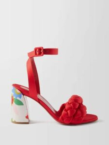 Alessandra Rich - Crystal Embellished Cotton Blend Midi Dress - Womens - Light Pink