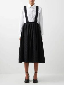 Alessandra Rich - Gathered Silk Charmeuse Midi Dress - Womens - Pink