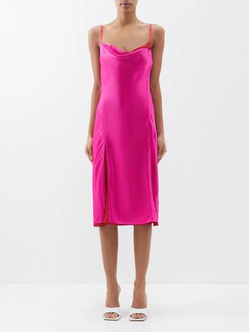 Alessandra Rich - Puff Sleeve Silk Charmeuse Wrap Mini Dress - Womens - Green