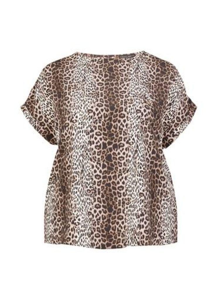 Womens **Dp Curve Multi Colour Animal Print Horn Button Soft T-Shirt- White, White