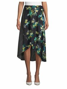 Mixed-Print Wrap Skirt