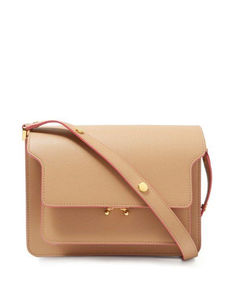 Marni - Trunk Medium Leather Shoulder Bag - Womens - Beige Multi