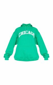 Emerald Chicago Slogan Hoodie, Emerald Green