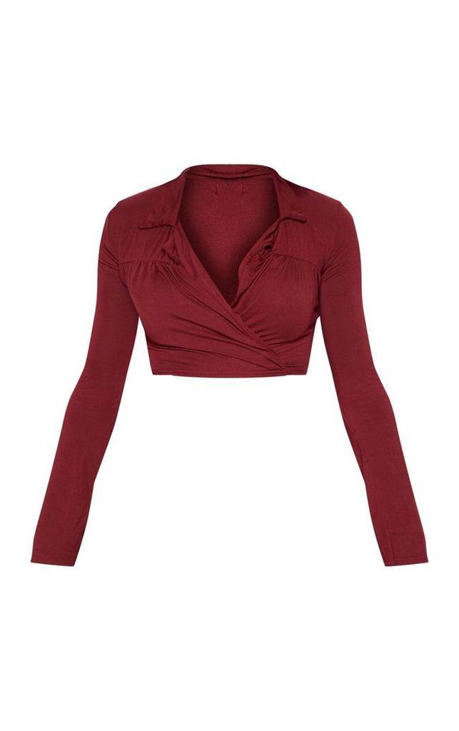 Plum Jersey Wrap Front Crop Shirt, Purple