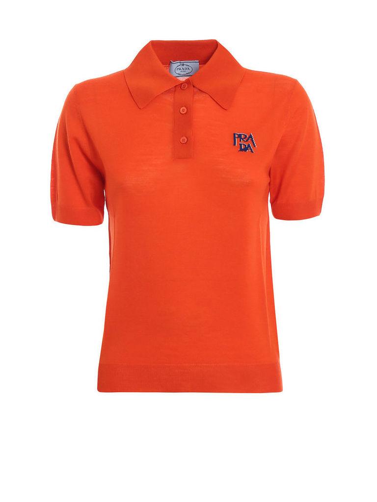 Prada Embroidered Polo Shirt