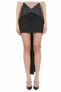 ATTICO Crystals Black Wool Skirt