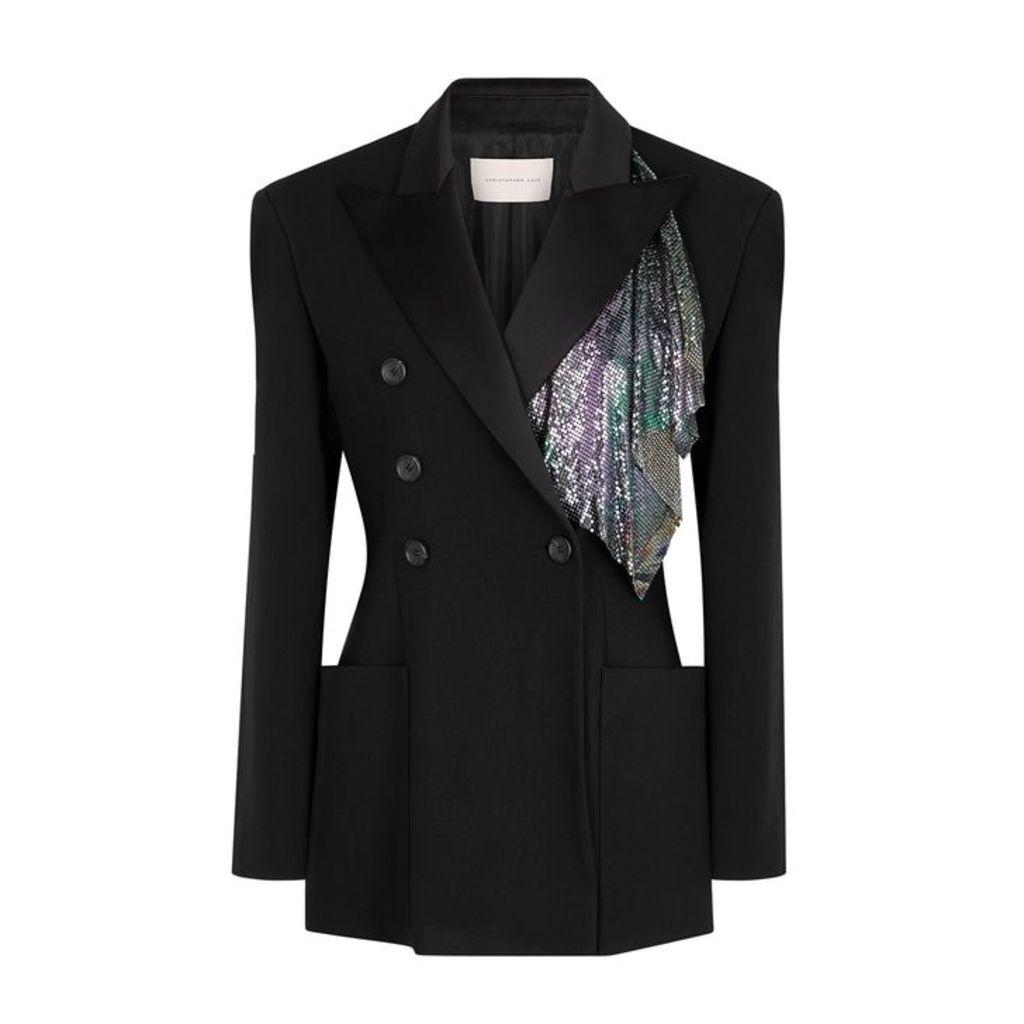 Christopher Kane Black Embellished Twill Blazer