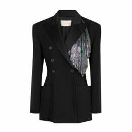 Christopher Kane Black Embellished Twill Blazer