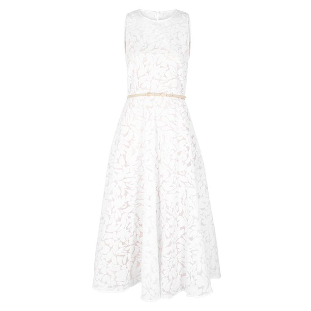 Max Mara Studio White Floral-devoré Organza Midi Dress