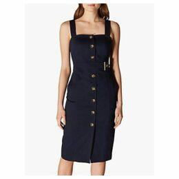 Karen Millen Buttoned Pinafore Dress, Navy