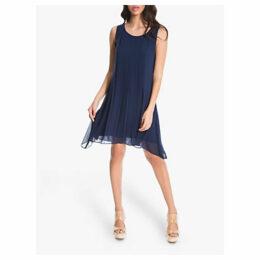 Max Studio Pleated Sleeveless Dress, Navy